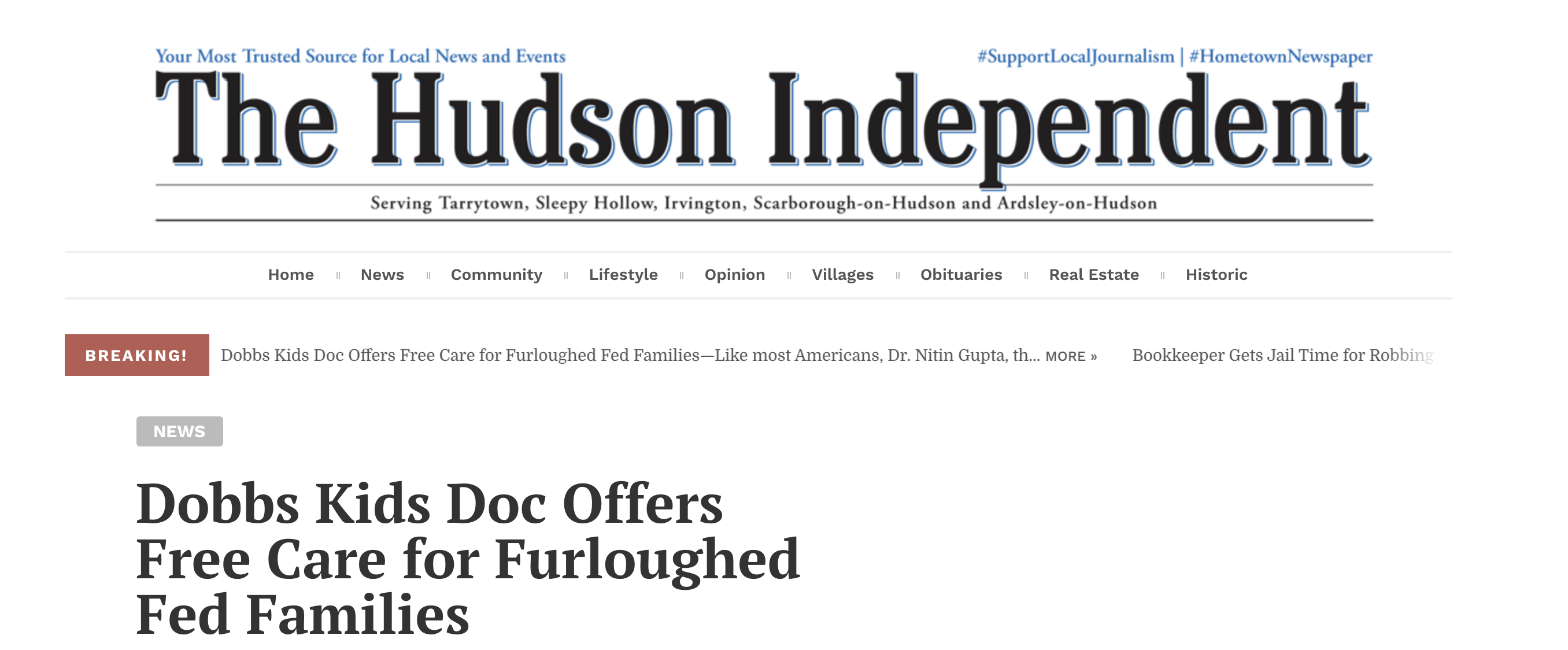 Dobbs Kids Doc Offers Free Care for Furloughed Fed Families